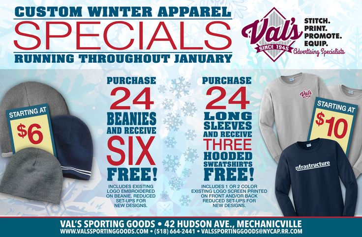 Winter postcard for Val's Sporting Goods