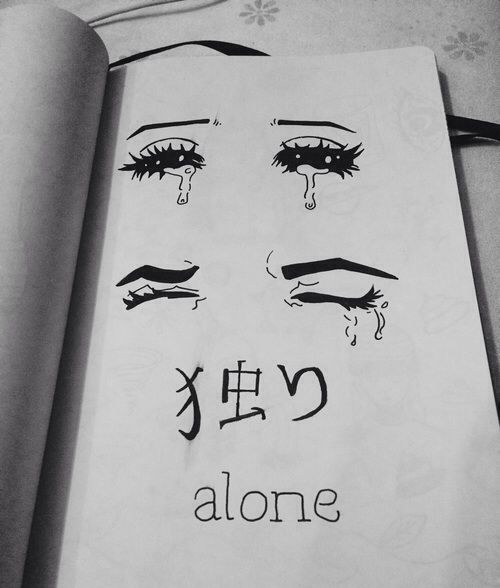 Sad Quotes About Depression Drawings: Pursuit Of Happiness, Bild über We Heart It #alone #black