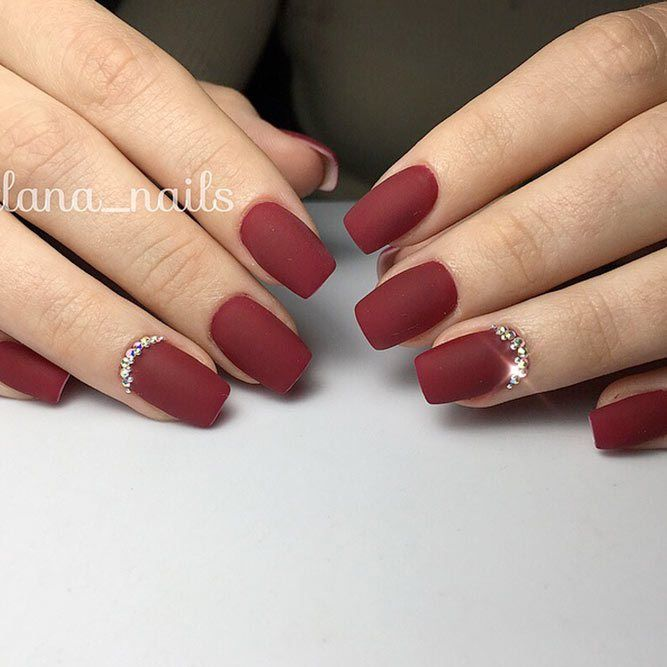 21 Stunning Burgundy Nails Designs That will Conquer Your Heart: Burgundy Nails with Rhinestones; #rhinestone; #nails; #nailart; #naildesign;