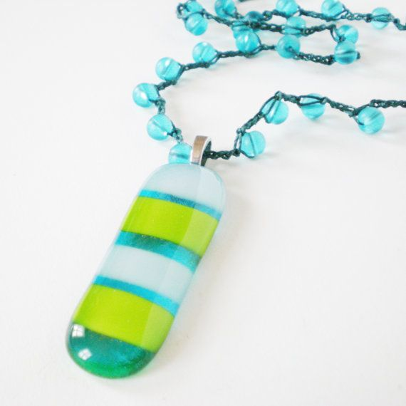 crochet bead necklace green blue pendant necklace by jcudesigns, £15.00