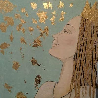 Guldkronan, lady, face, acrylic, painting