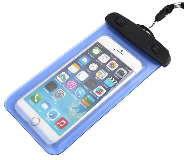 Universal Bastex Blue Bag Waterproof for any 5 inch Phone Clear transparent windows to both sides perfect for taking photos and videos, texting, checking emails, talking.Ultra Clear-film material allows full touch screen access and button control functionality.