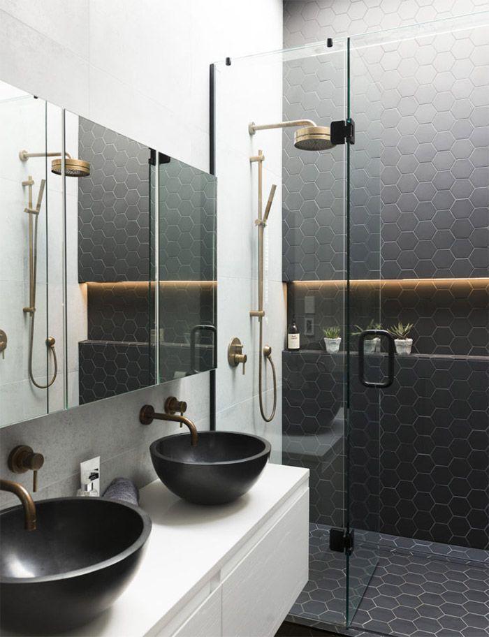 ideas para reformar el bao en blanco y negro con toques dorados some buw ideas with decoracion azulejos baos - Azulejos Baos