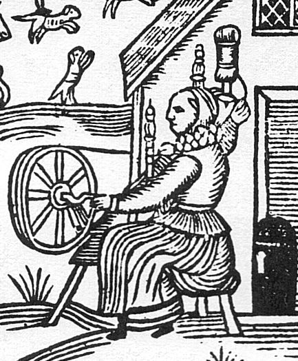 Tudor Era Spinning Wheel-EXCERPT:'It looks as if she is turning the wheel using a little handle, but also has a distaff and is using a long-draw method.'