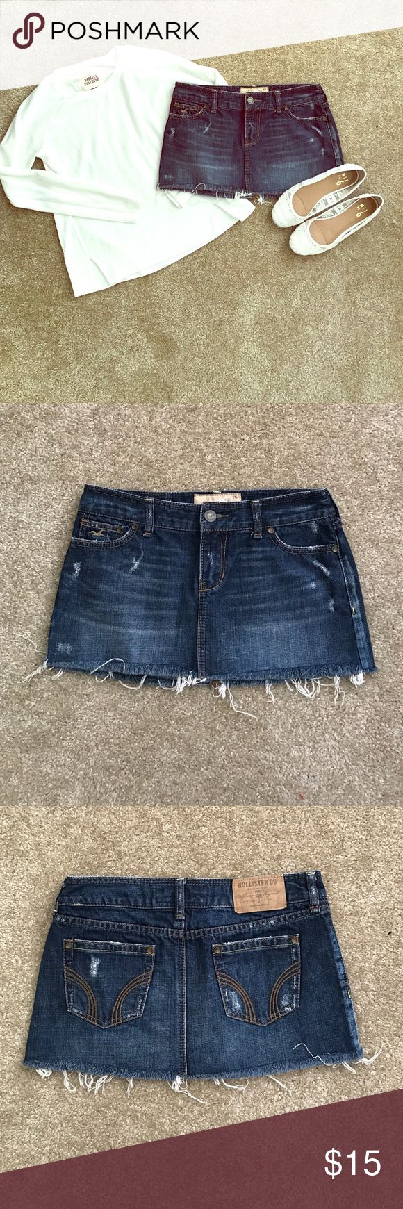 Jean Skirt Flawless distressed jean skirt. Only been worn once or twice. Perfect to wear in the summer with a tank top or in the winter with a sweater or cardigan. It is actually a size one but that was not an option. It could however, fit a size 2 or 0. Price negotiable. Hollister Skirts