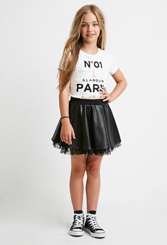 Tulle-Trimmed Faux Leather Skirt (Kids) | Forever 21 girls - 2000157921
