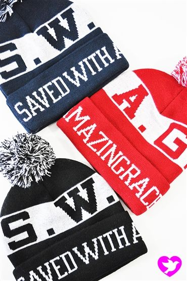 "The SWAG -Saved With Amazing Grace Beanie comes in three colors! Inspired by Ephesians 2:8 ""For it is by grace you have been saved, through ..."