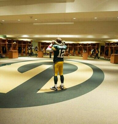 Aaron Rodgers in the locker room