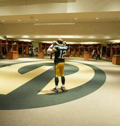 Aaron Rodgers in the locker room