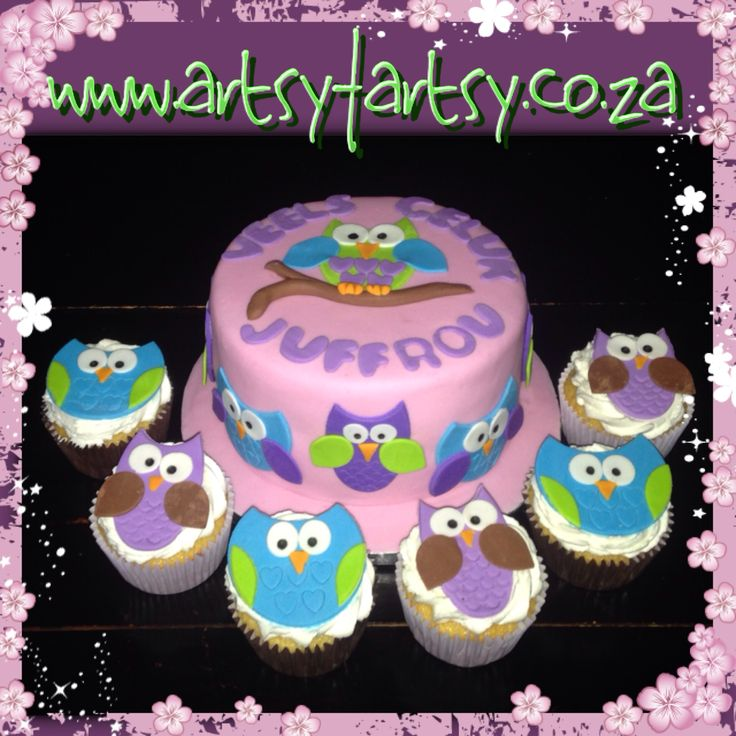 Owl Cake and Cupcakes for Teacher's Birthday #owlcake #owlcupcake #teacherscake #teacherscupcakes