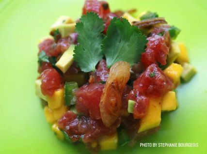 Poke- Spicy Big-Eye Tuna with Mango, Avocado, and Crispy Shallots