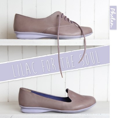 Lilac soles and rosa leather uppers.