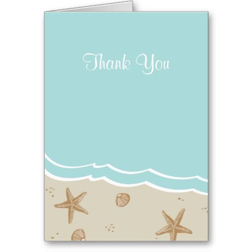 aqua starfish beach bridal shower thank you cards