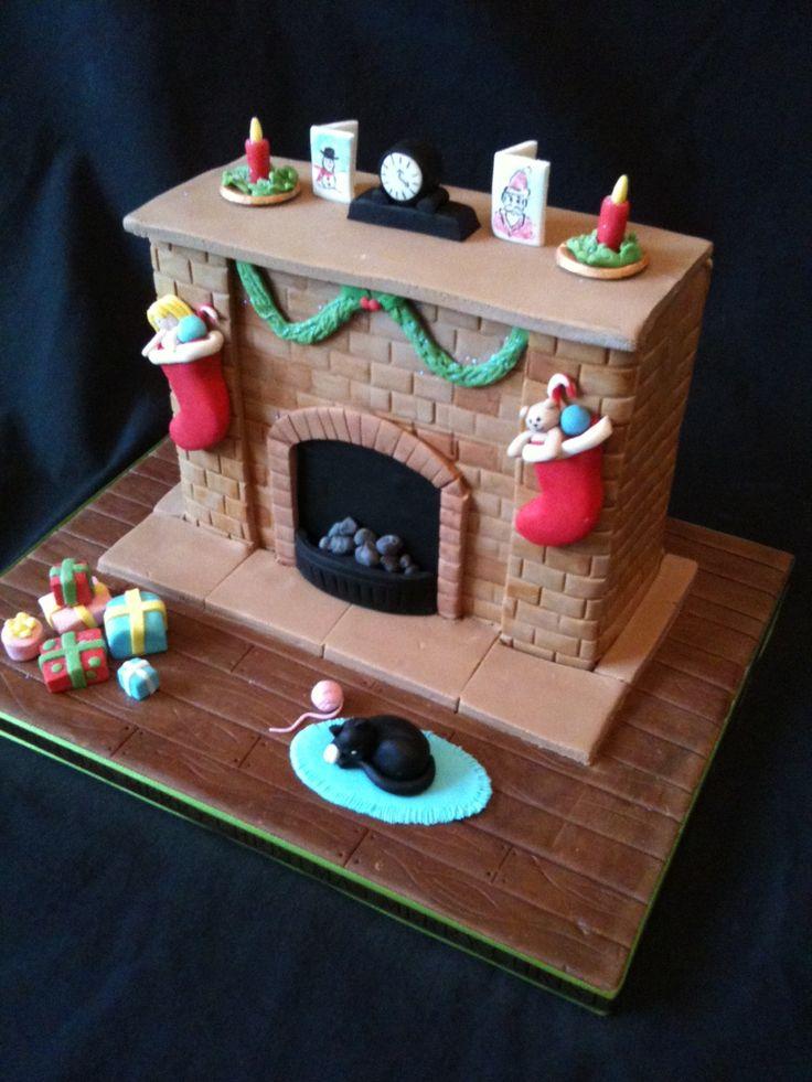 Xmas fireplace cake