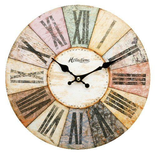 hometime mdf round wall clock roman dial multi coloured w6803bn mark my words http vintage wall clockslarge