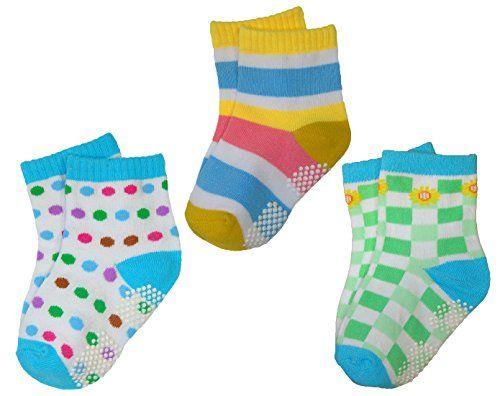 BOMIO | ABS Socken in farbenfrohem Design | Antirutsch Baby-S�ckchen aus hautfreundlichem Material | Stoppersocken | Hervorragende Passform | 3er Pkg. T�rkis Jungen