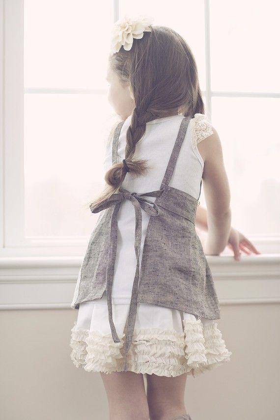 apron: Girls, Fashion, Grey Twill, Children, Cute Aprons, Vintage Crochet