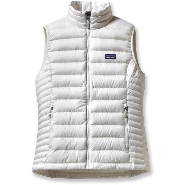 Patagonia Down Sweater Vest ($179) ❤ liked on Polyvore featuring outerwear, vests, patagonia, white waistcoat, white sweater vest, sweater vest and patagonia vest