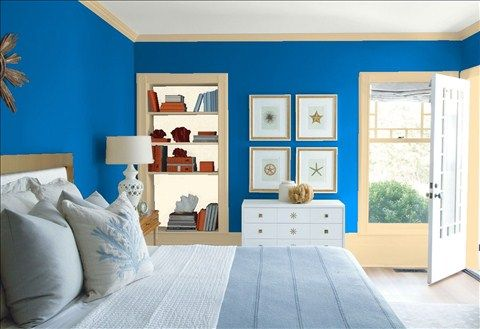 Look at the paint color combination I created with Benjamin Moore. Via @benjamin_moore. Wall: Ol' Blue Eyes 2064-30; Trim: Key West Ivory 192; Bookcase Back Wall: Vanilla Ice Cream 2154-70; Ceiling: White Heron OC-57.