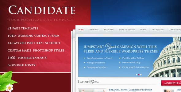 Candidate Political Site Template