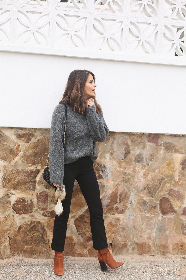 grey sweater, black cropped pants + cognac booties