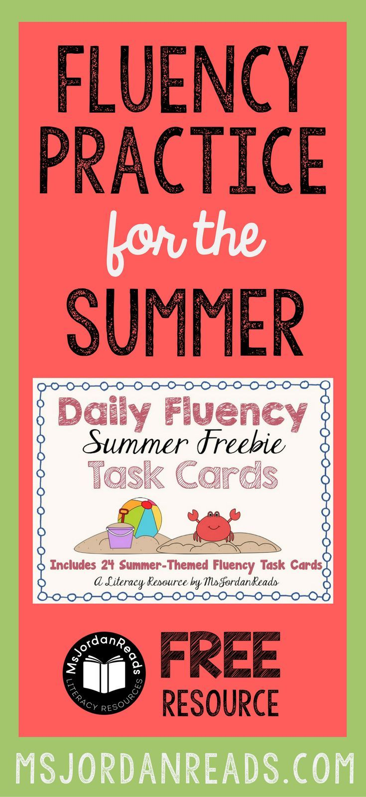 Fluency Task Cards for the Summer that you can download for FREE! | Blog post includes other summer fluency ideas to help students practice fluency and avoid the typical