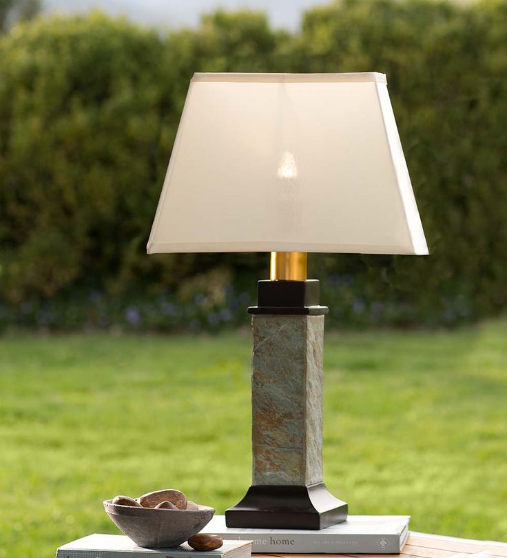 battery operated outdoor lighting slate outdoor spaces table lamps. Black Bedroom Furniture Sets. Home Design Ideas