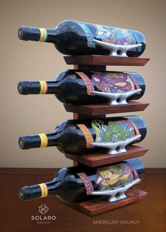 Nautical Wine Rack  Holds 4 Bottles by SolaroDesign on Etsy