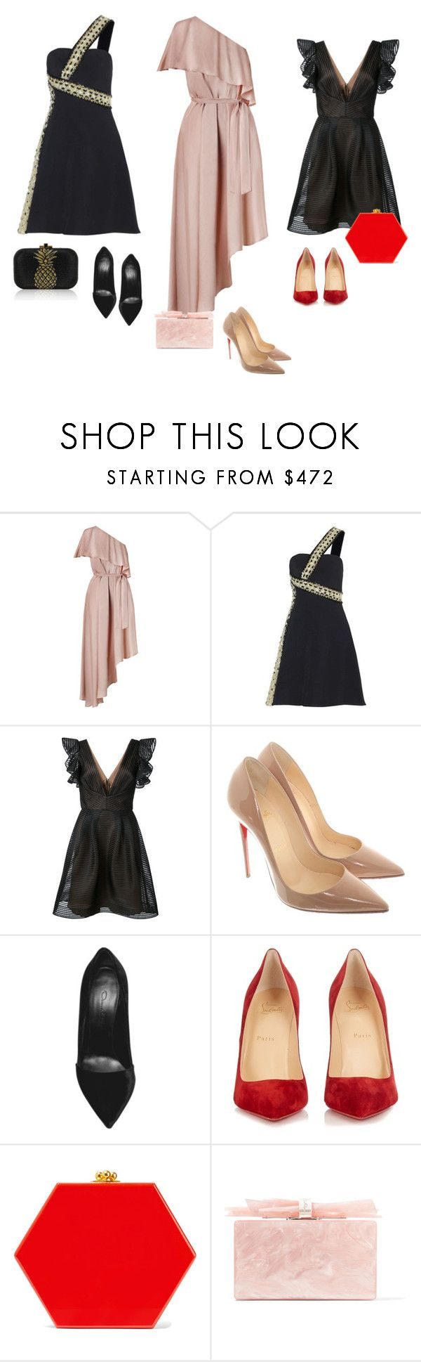 """Three dresses one night"" by audrey-balt on Polyvore featuring Zimmermann, Zuhair Murad, Notte by Marchesa, Christian Louboutin, Edie Parker and Judith Leiber"