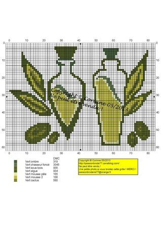 cuisine - kitchen - huile - point de croix-cross stitch - broderie-embroidery- Blog : http://broderiemimie44.canalblog.com/