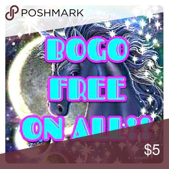 BOGO ON ALL LISTINGS I updated my seller discount to just 25% off 5+ items, but I've dropped prices and decided to make EVERYTHING buy one get one FREE! That means you get a free listing for every listing you buy!  Buy anything, and you can request a FREE item FOR EVERY LISTING YOU BUY after purchase. No longer using 🌟 symbol since its a free for all now ***Free item must be of equal or lesser value 💜 JUST ASK AFTER PURCHASE! Accessories