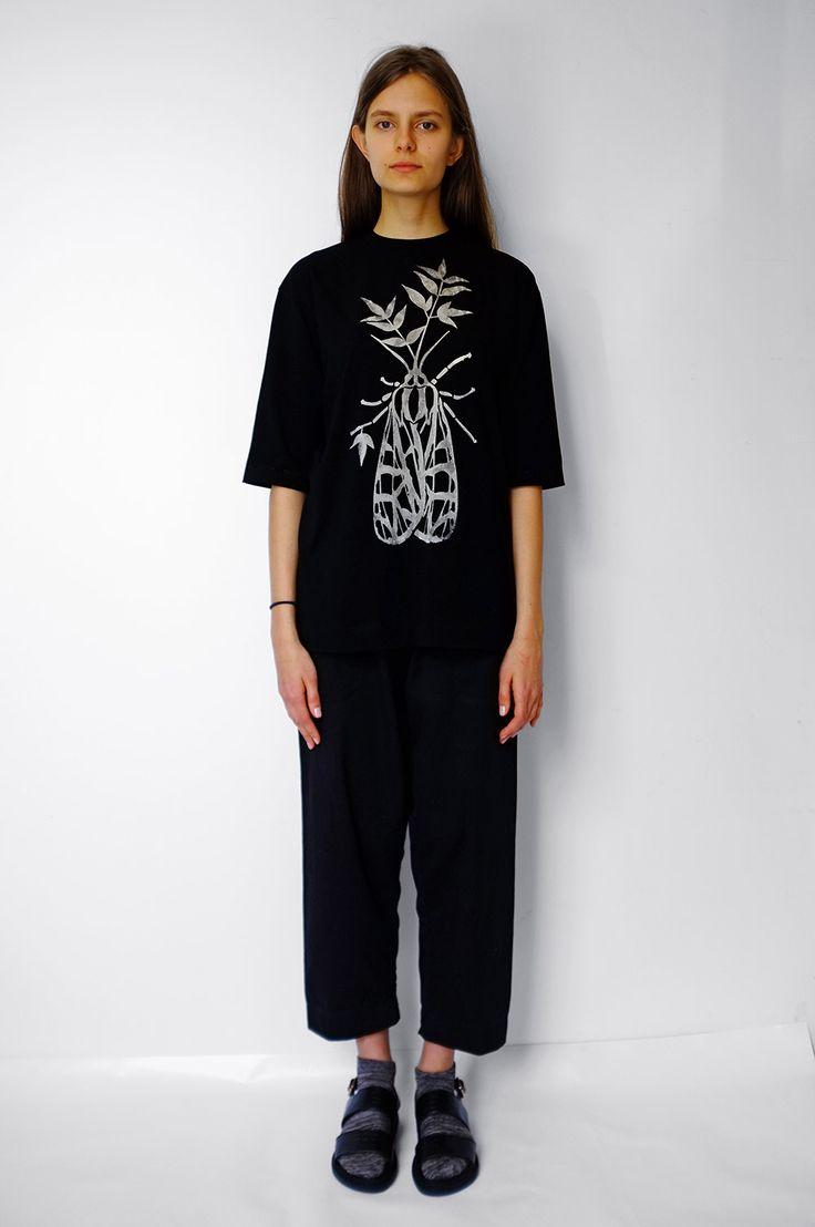 Black Hand-Bleached T-Shirt by Masha Lamzina #mashalamzina  #bleach #stencil