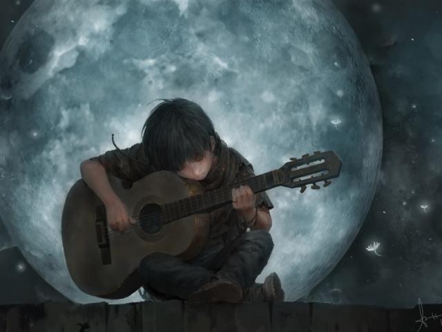 Download 1920x1080 Little Boy On Full Moon Night Playing Guitar Art 1080p Laptop Full Hd Wallpaper Artist Wallpapers Imag Guitar Art Art Wallpaper Guitar Boy