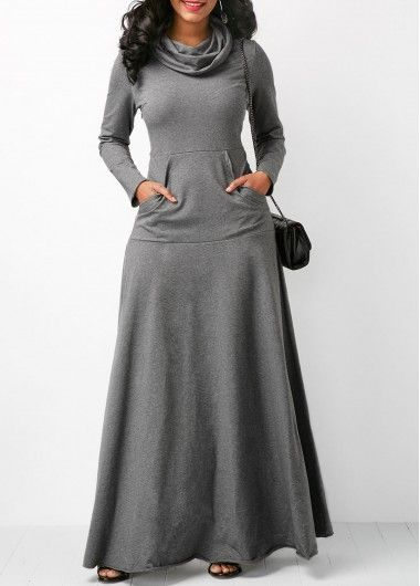 Grey Cowl Neck Long Sleeve Pocket Maxi Dress on sale only US$32.06 now, buy cheap Grey Cowl Neck Long Sleeve Pocket Maxi Dress at liligal.com