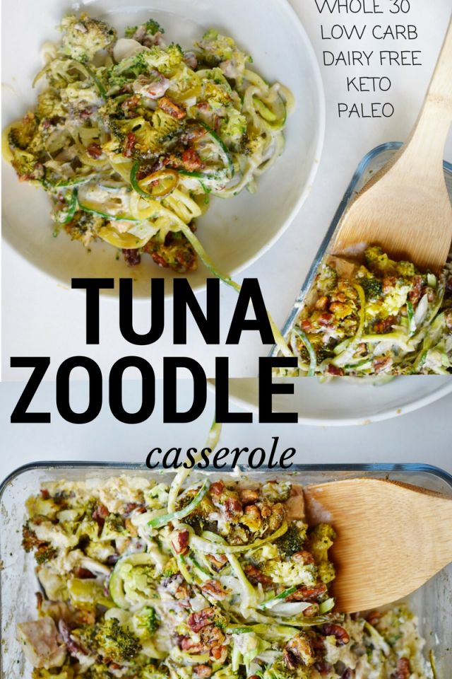 whole30 low carb paleo tuna noodle casserole! dairy free, creamy and delicious!
