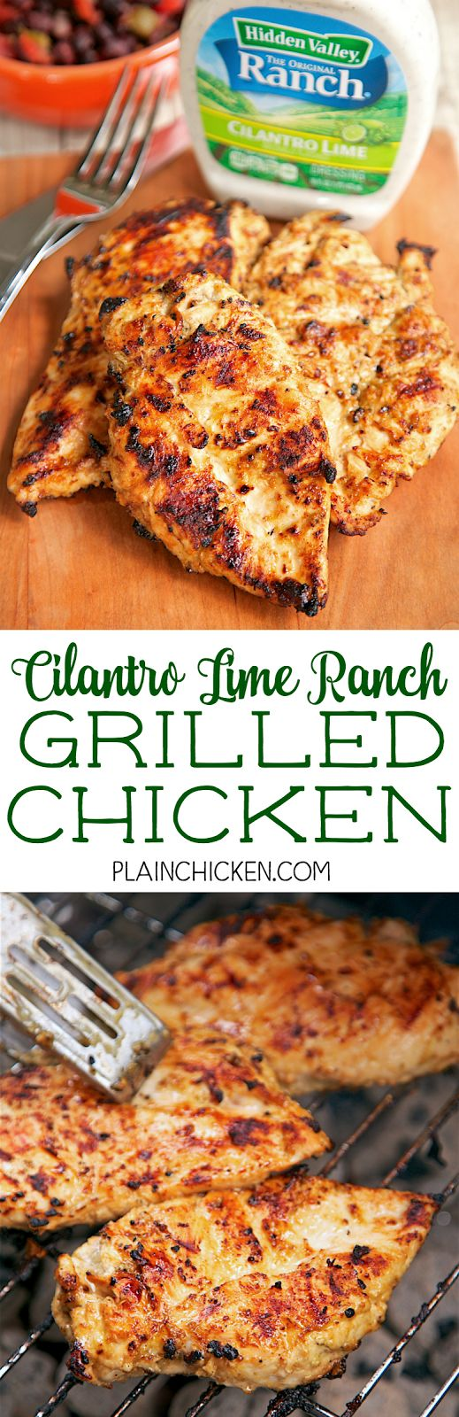 Cilantro Lime Ranch Grilled Chicken - cilantro lime ranch dressing, olive oil, cumin, lime juice, vinegar and worcestershire sauce. Only takes a minute to whisk up the marinade. Let the chicken sit in the marinade all day and grill the chicken for dinner. Crazy good! Would also be great in fajitas!!