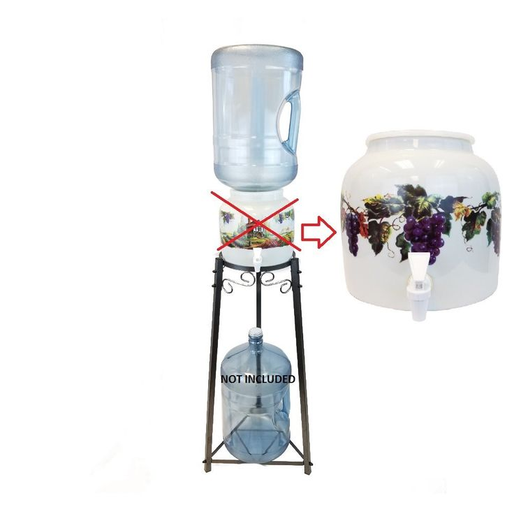 """2.5 Gallon Porcelain Grape Water Crock with 32"""" 2 Step All Metal Stand - Dust Gray/Black with 3 Gallon BPA Free Reusable Water Bottle"""