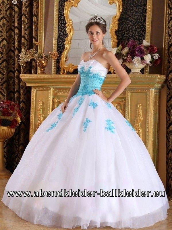 Weiss Blaues Wolumen Sissi Kleid Abendkleid Ballkleid