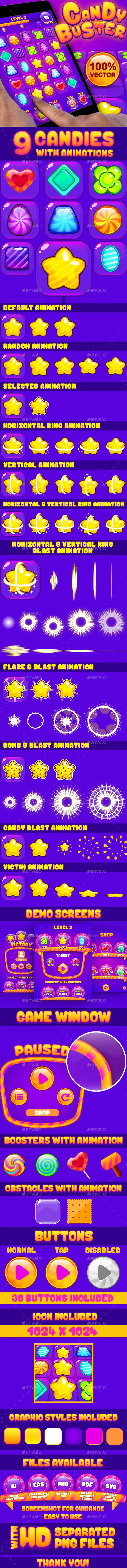 Candy Buster: Match3 Puzzle Game UI Pack — Vector EPS #video #icon • Available here → https://graphicriver.net/item/candy-buster-match3-puzzle-game-ui-pack/14056962?ref=pxcr