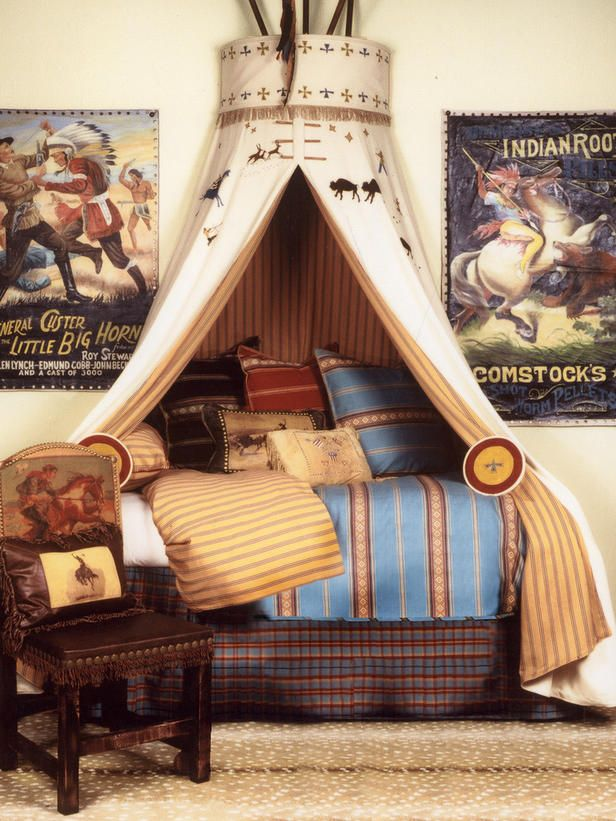 He is not a fan of cowboys, but I want to keep the tee-pee idea for when we change the room.  Maybe a rocket ship, boat sail, tent, or just multicolored material.  A reading hut maybe or a castle with a flag up top.
