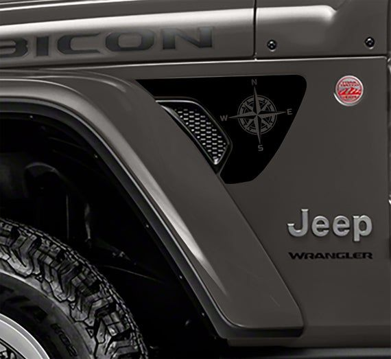 Nautical Compass 2pc Fender Vent Blackout Decals For 2018 Jeep