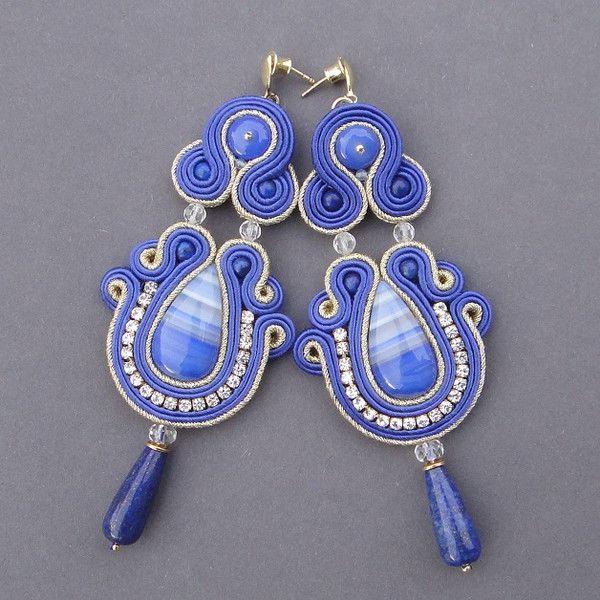 """""""Greta"""" kolczyki sutasz z agatami i lapis lazuli - BlueButterfly-bizu - Kolczyki wiszące"""