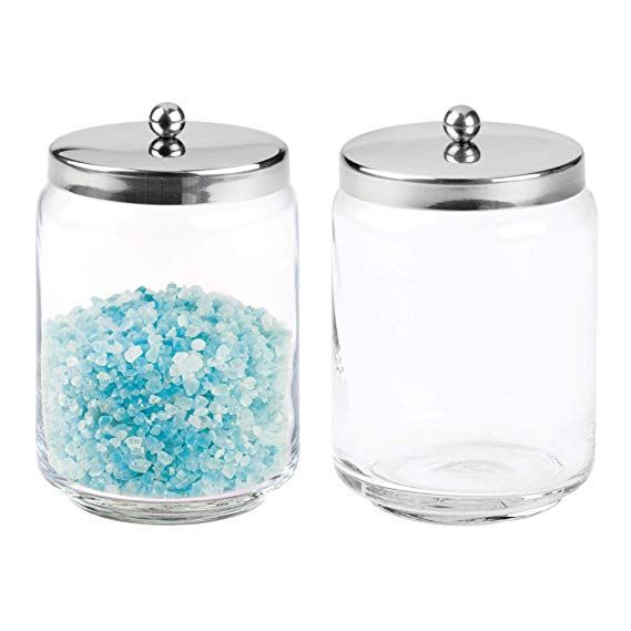 Mdesign Bathroom Vanity Glass Storage Organizer Canister Jars For