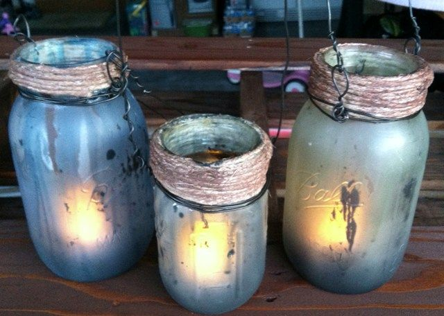 These are our Pumpkin Rot inspired lanterns.  Using Dollar Tree flickering, battery operated tea lights to illuminate.  Our next series is going to try a silver, metal spray paint on the exterior and while wet, misting it with a vinegar/water solution.  Using a clean rag, dab at the bubbles that appear and then let dry.  WIll update if we get a successful batch!