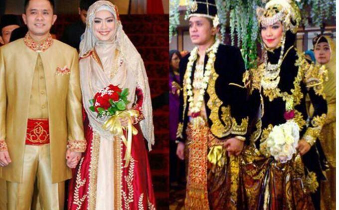 muslim wedding - Minang modern style (left side) and javanese style (right side). #indonesia #wedding #hijab #syari #khimar #javanesestyle #minangstyle