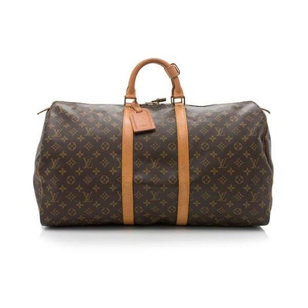 Pre-Owned Louis Vuitton Vintage Monogram Canvas Keepall 55 Duffel Bag ($995) ❤ liked on Polyvore featuring bags, luggage and brown