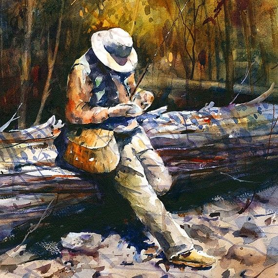 TROUT FISHING Watercolor Print By Dean Crouser por DeanCrouserArt