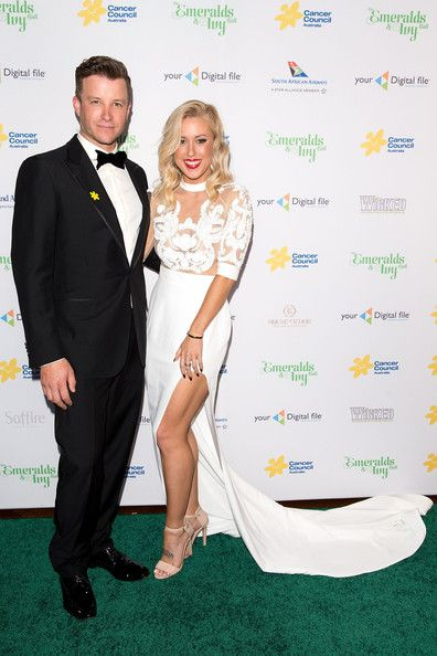 Katie Hansen and Luke Jacobs At the Emeralds and Ivy Ball Sydney - Katie wears MARIAM SEDDIQ paari gown