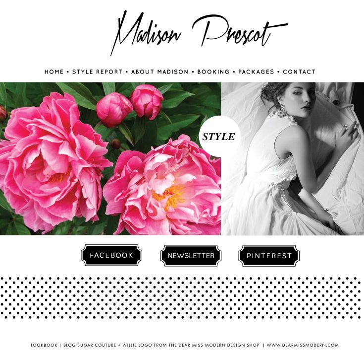 Design Lookbook: Blog Sugar Couture + Willie Logo from the Dear Miss Modern Design Shop.