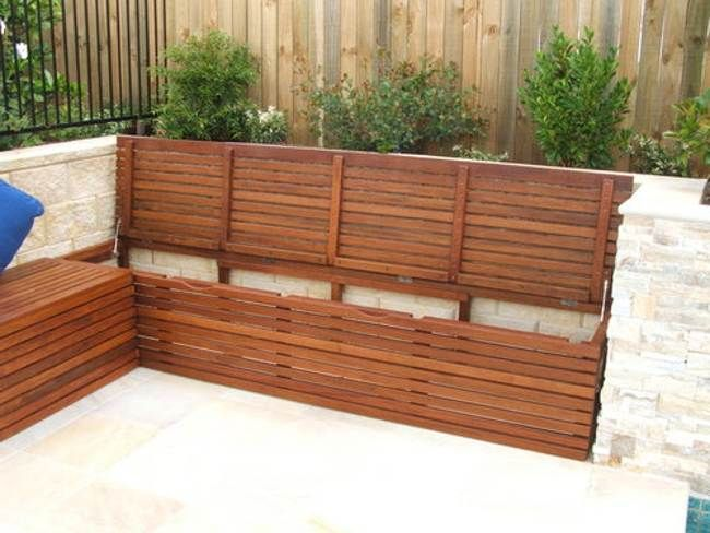Really great looking storage benches for the fireplace area; could have solid weather-proof interiors